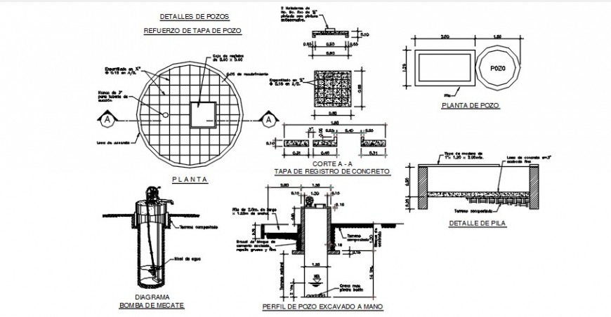 2d cad drawing of Potable water well autocad software