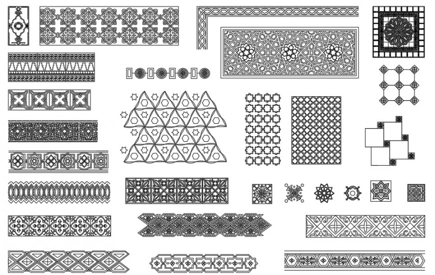 CAd drawings details of Arabic decorative patterns blocks
