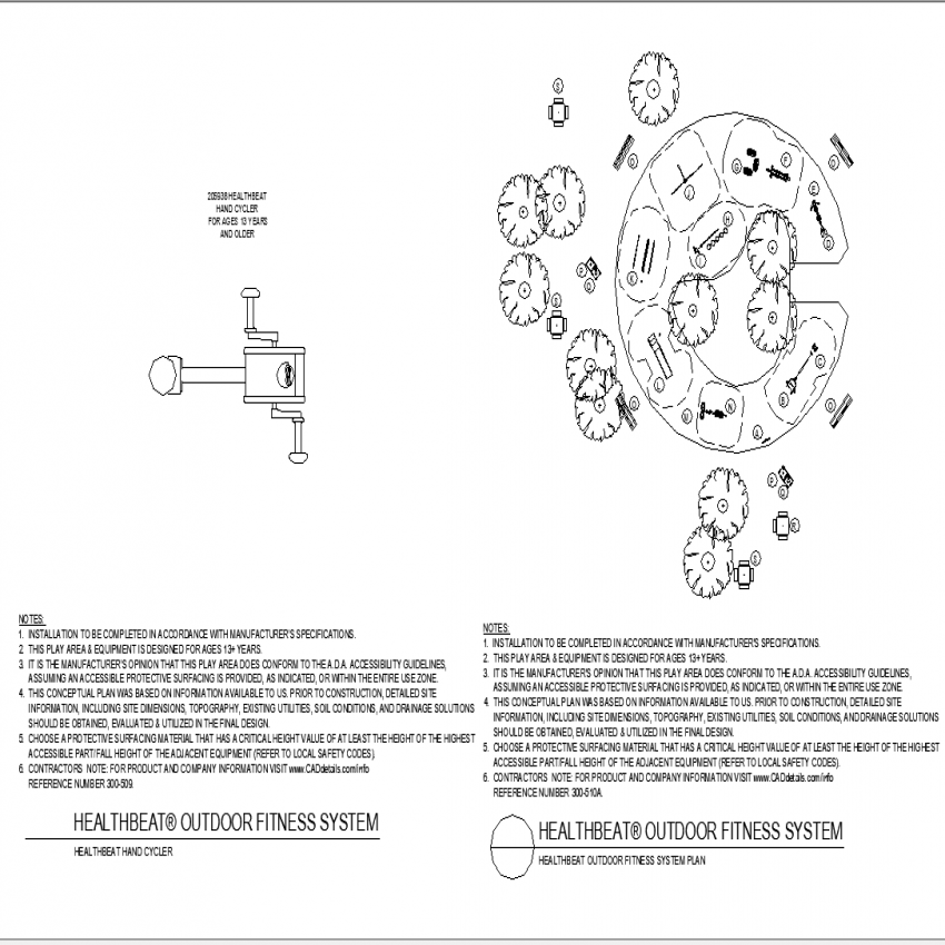 Hand cycle and fitness system plan layout file