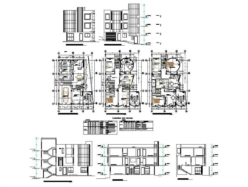 One family house detail plan, elevation and section autocad file