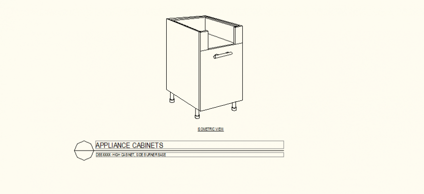 Single door base cabinet detail plan layout file