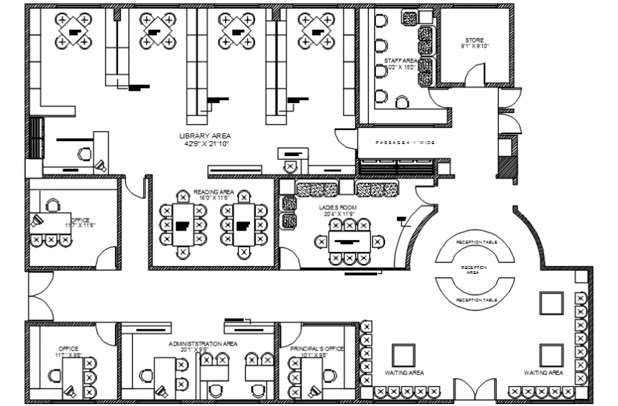 top view layout plan of a office model file