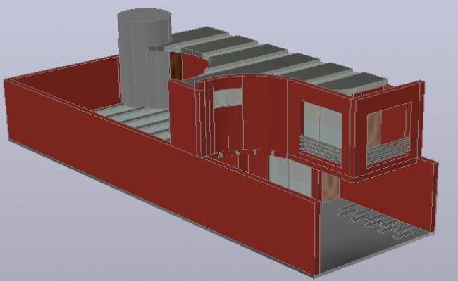 3 D modern house plan detail dwg file