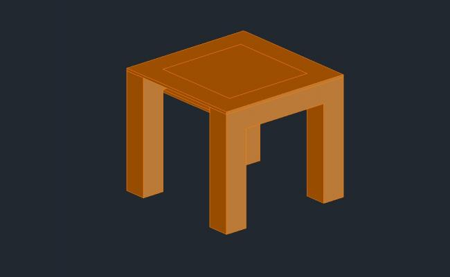 3D drawing of the side table in AutoCAD
