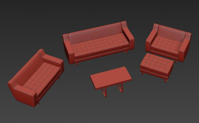 3ds MAX Low Height Sofa Design Model Free Download