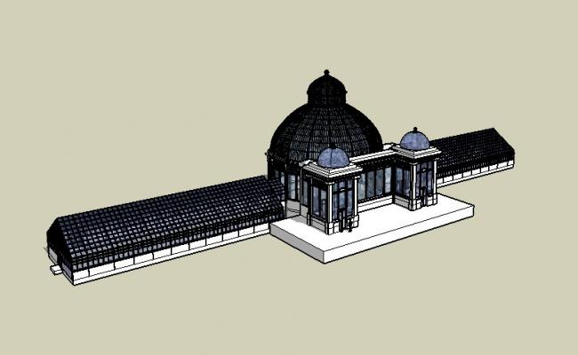 Allan Garden Conservatory multi-level 3d building skp file