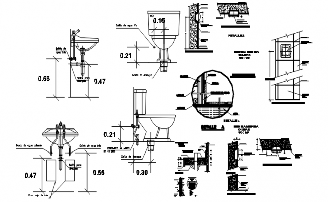 Autocad drawing of toilets