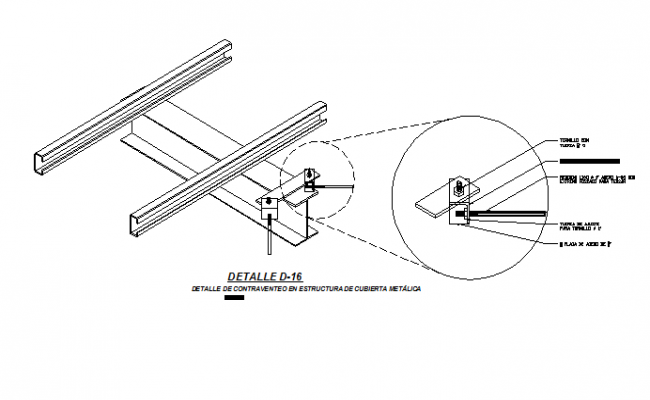 Bracing detail in metal roof construction details dwg file