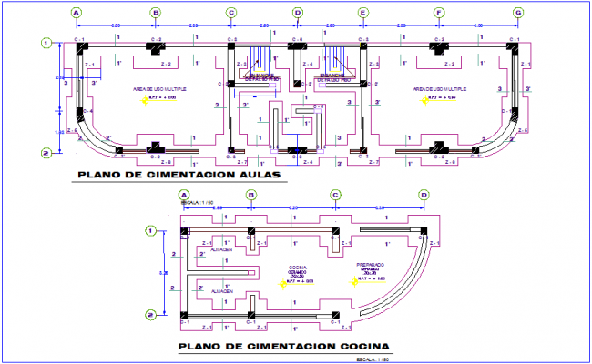 Classroom and kitchen foundation plan with detail for education area dwg file