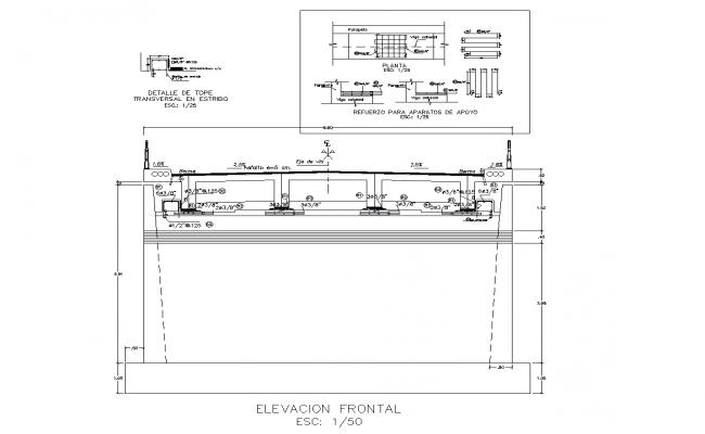 Detailed bridge inter-oceanic section plan dwg detail file.