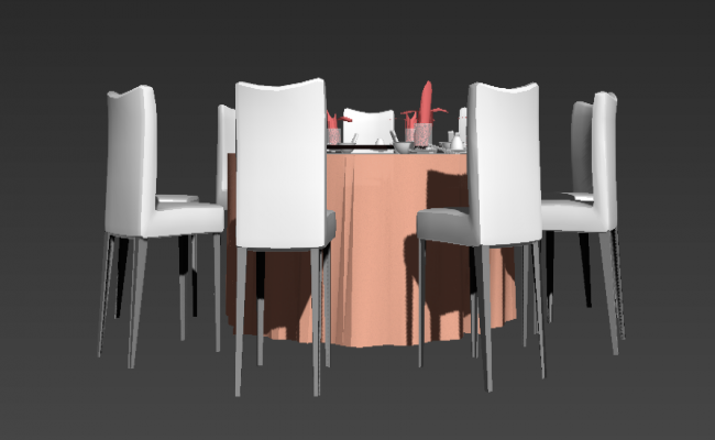 Dining table and chair 3d model CAD block 3d max file