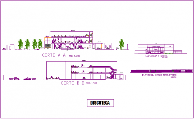Discotheque elevation and different axis section view dwg file