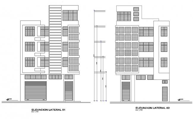 Dwg file of commercial and residential complex elevation