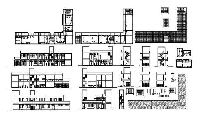 Dwg file of office with sections