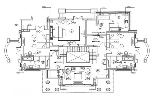 First-floor plan of a villa with the detail of fire alarm system.