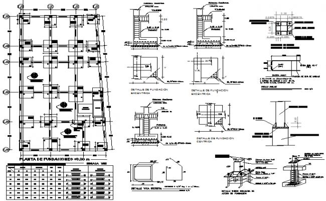 Foundation plan and section residential commercial plan detail dwg file