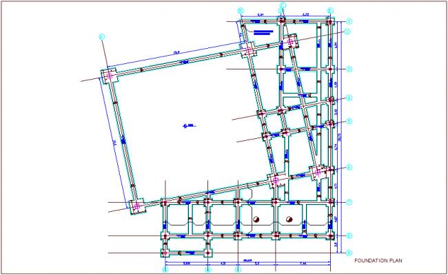 Foundation plan of turkey for multipurpose room dwg file