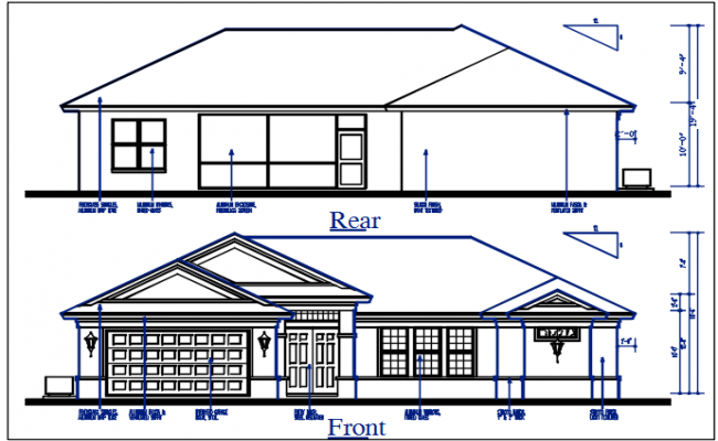 Front elevation and rear elevation view of bungalow dwg file