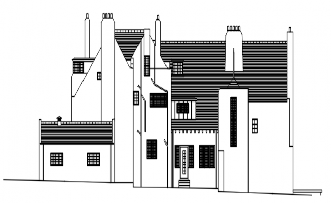 Front facade of the bungalow in autocad
