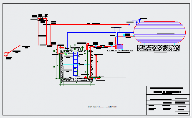 Hydraulic sanitary facilities section  design drawing