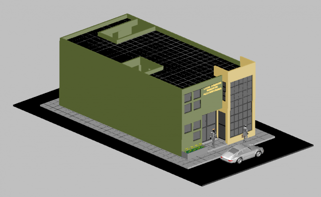 Office building 3d view  dwg file