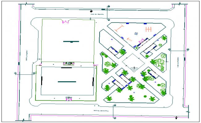 Park garden plan view detail dwg file