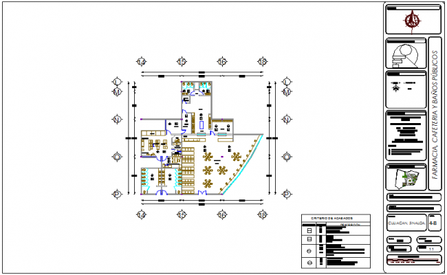 Pharmacy, cafeteria and public bathroom view for hospital dwg file