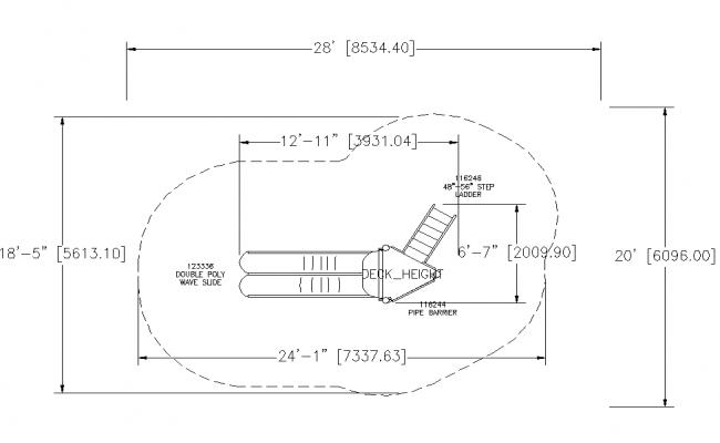 Play slider garden equipment detail plan layout autocad file