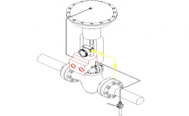 Pressure regulator 3 D plan detail dwg file