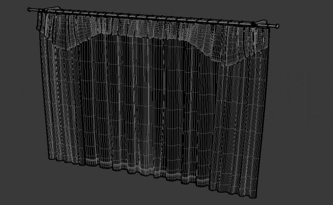 Rendered Curtain Drawing  3D MAX File Free Download