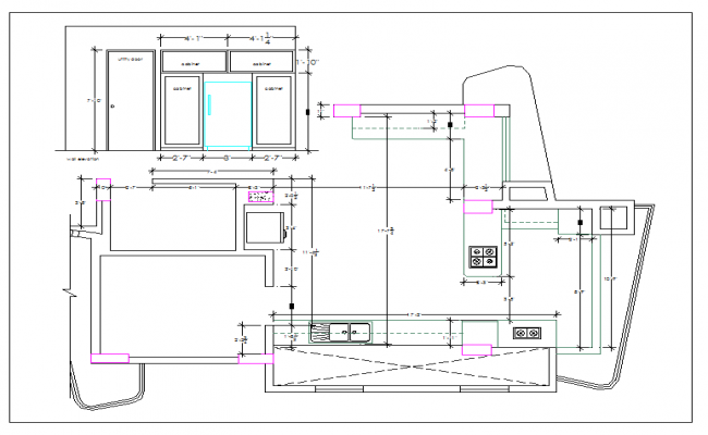 Residential kitchen plan view dwg file