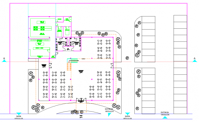 Restaurant plan detail dwg file