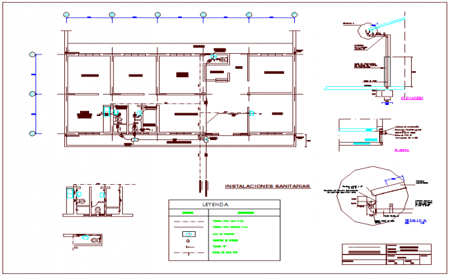 Sanitary installation view of rural medical center dwg file