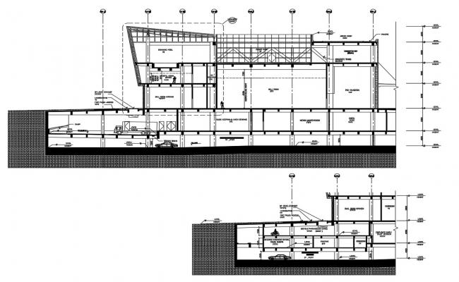 Section Drawing Of Modern Commercial Building AutoCAD File Free
