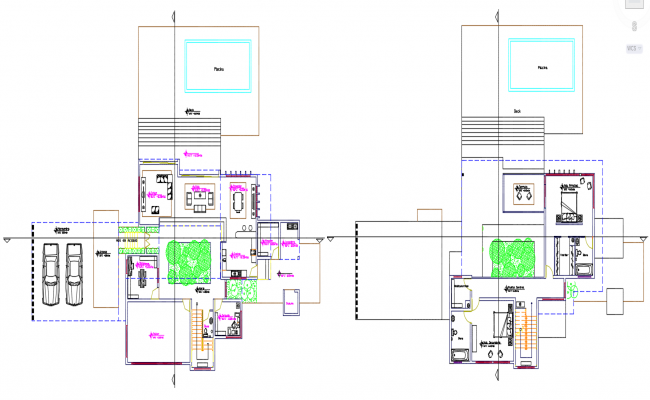 Semi Furnished House Cad Plan
