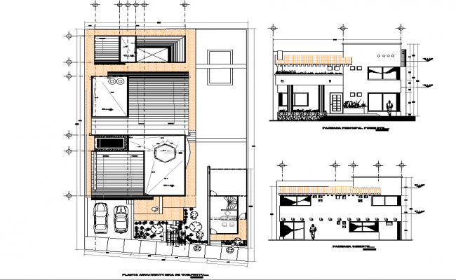 Single family home plan and section detail dwg file