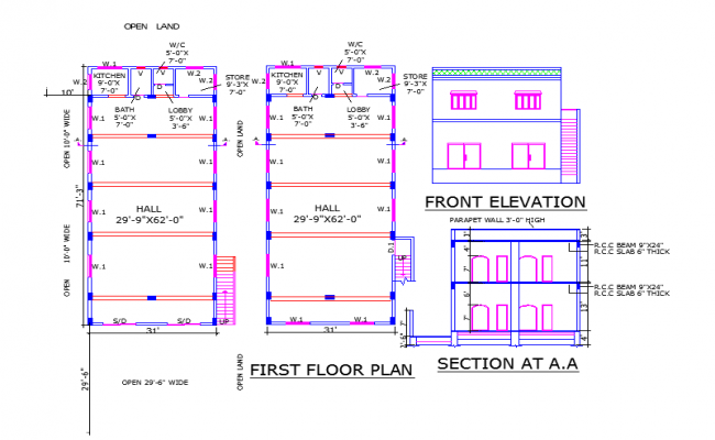 Restaurant Lay-out plan & elevation detail