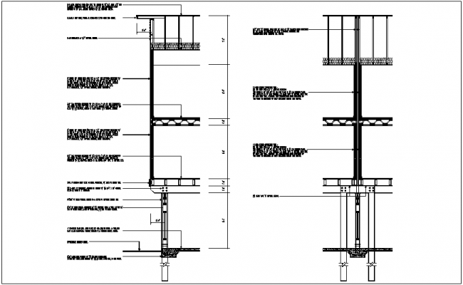 Wall roof connection section view detail dwg file