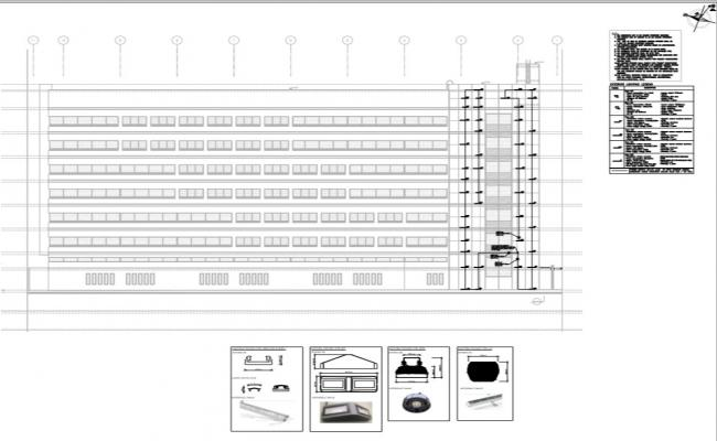 building elevation and exterior led lighting detail layout