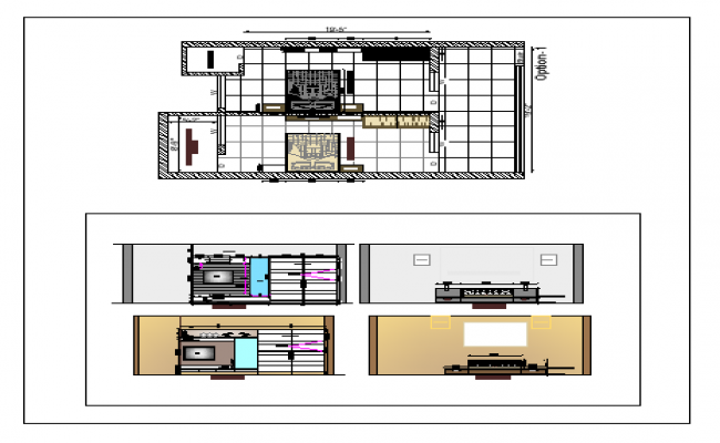 Plan Of A House With Interior Design Dwg File