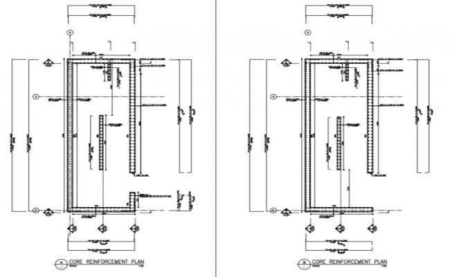 structural detail plan with reinforcement from 3rd to 4th floor