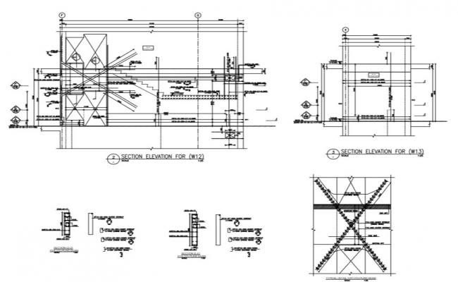 structural detail plan with section and elevation .