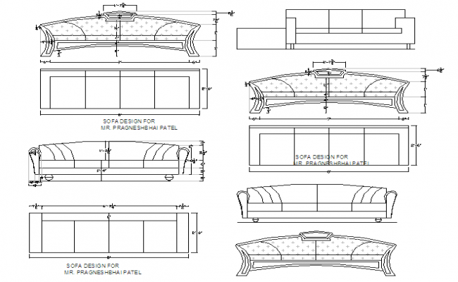 Plan And Elevation Of Sofa : Sofa set block detail