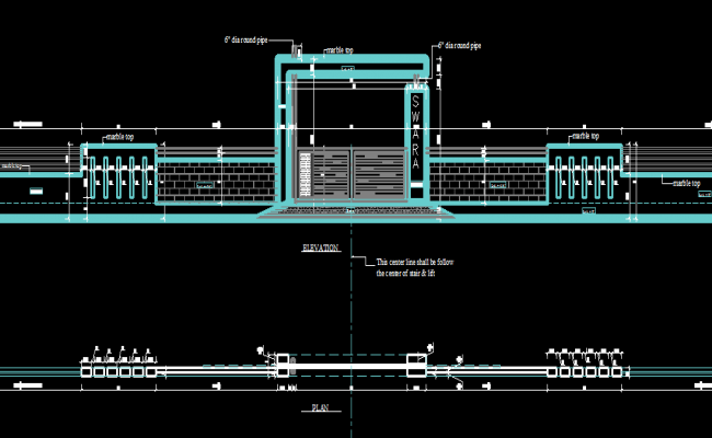 Compound Wall Design Autocad : Gate with compound wall