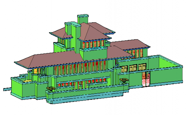 3D drawing of Bungalow design.