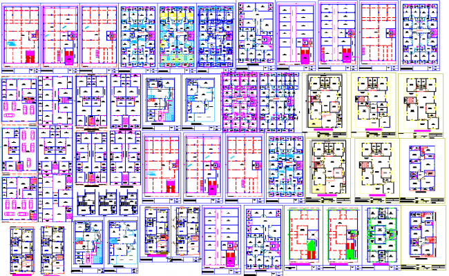 1,2, and 3 bhk apartment floor plan cad files
