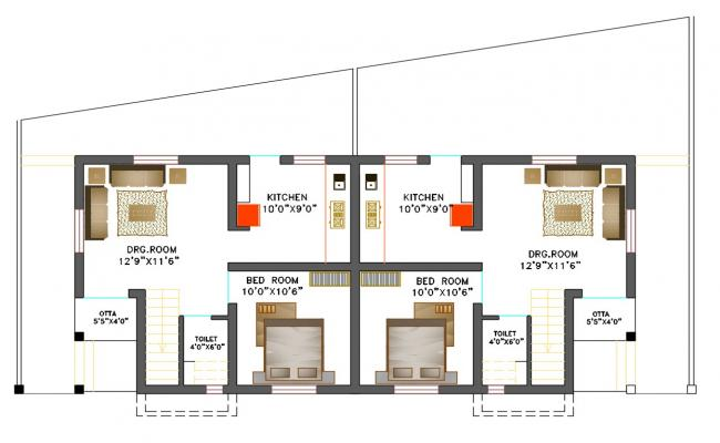 1 BHK House Plan DWG File
