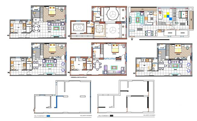 1 BHK Residential House Furniture Arrangement Layout Drawing