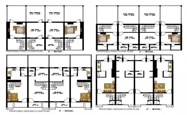 1 BHK Row House Plan With Open Terrace Design AutoCAD File