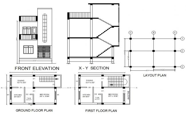 1 BHK Small House Plan And Sectional Elevation Design DWG File
